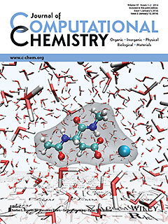 The journal cover shows a calcium ion coordinating to aspartate, a model for proteins in aqueous solution used by the authors to demonstrate features of the software. The multi-scale QM/MM equations governing the implementation are visible on the surface that extends to the horizon.