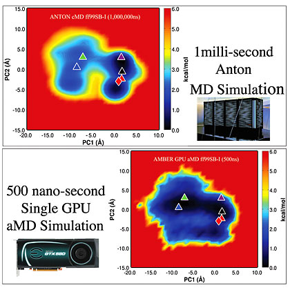 Images showing the conformational space explored by the protein in the 1ms conventional MD Anton simulation, and the 500ns aMD simulation. The red diamond marks the crystal structure where both simulations were started from; the triangles represent important structures found in the 1ms simulation. The lower image shows that with a single graphics card running 500ns of accelerated MD, the same structures can be sampled and the same relative conformational space can be explored. Principal Component Analysis (PCA) captures the slowest motions of the protein, which correspond to conformational changes on long timescales. Moving L to R along the x-axis captures the primary slow rocking motion of the protein; moving vertically on the y-axis captures the second slowest motion, or wagging movement. Courtesy of the Walker MD Lab, San Diego Supercomputer Center.