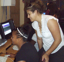 Elsa Urquilla, a 4th-year UCSD student, is mentoring Jahne Webster as part of a program to help narrow the