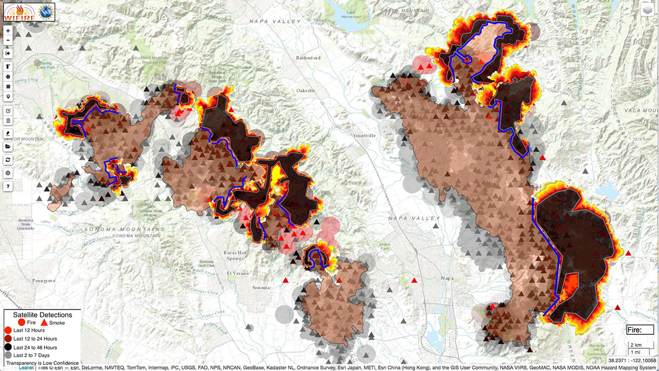 This image shows another run of simulations from this week's wildfires in Sonoma and Napa, CA using the WIFIRE project's Firemap tool. Source: John Graham, Qualcomm Institute/WIFIRE.